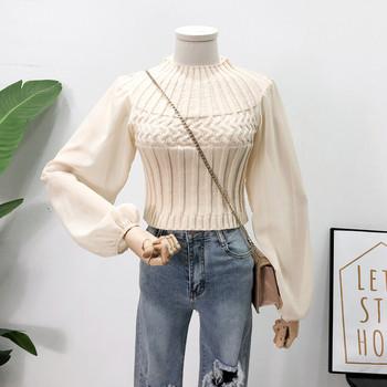 Дамски пуловер с широки ръкави в четири цвята