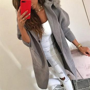 Модерно дамско дълго палто с качулка и пух в три цвята