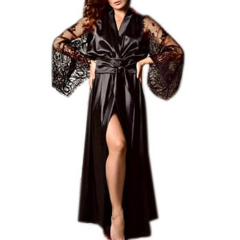 НОВО модерен дамски дълъг халат с дантела и връзки в няколко цвята