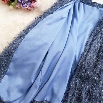 Нов модел дамско палто в три цвята с пискюл и колан на талията