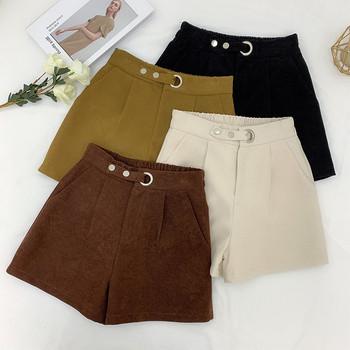 Дамски зимни къси панталони с колан в няколко цвята