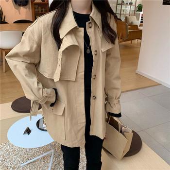 Дамско модерно тънко палто в два цвята с джобове