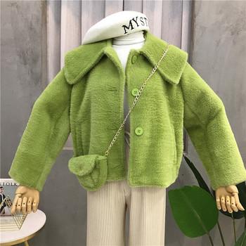 Стилно пухено дамско палто с чанта в няколко цвята