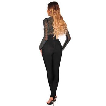 Стилно дамско боди с висока яка и дълъг ръкав в черен цвят