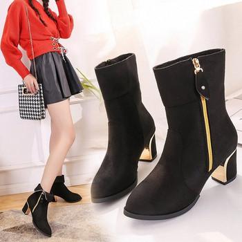 Елегантни дамски боти с цип и дебел ток в черен цвят