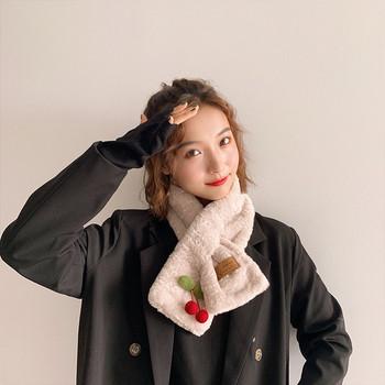 Пухен дамски шал с 3D елемент в различни цветове