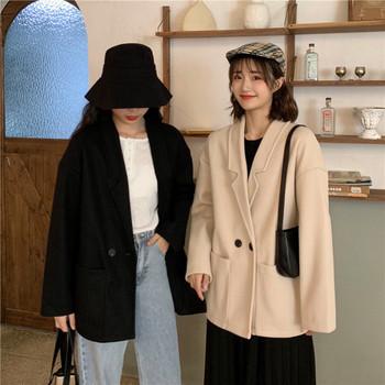 Дамско дълго палто в два цвята с копче и джобове