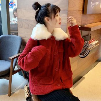 Модерно дамско палто в черен и червен цвят с пух
