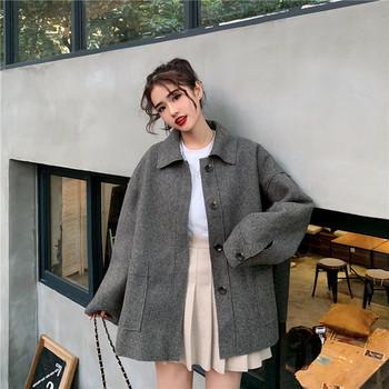 Дамско ежедневно палто в два цвята широк модел с джобове