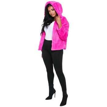 Модерно дамско късо пухено палто с качулка в шест цвята