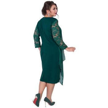 Κομψό γυναικείο μακρύ φόρεμα με τούλι και δαντέλα σε πράσινο και μπορντό