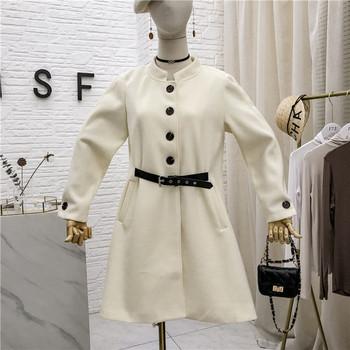Нов модел дамско палто с колан и копчета в няколко цвята