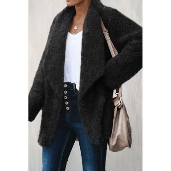 Модерно дамско дълго палто в сив,черен и кафяв цвят