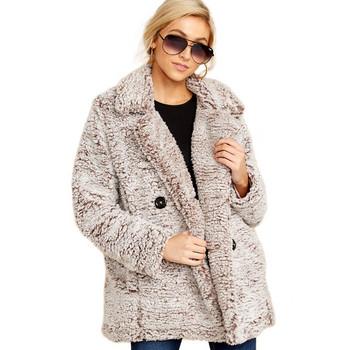 Стилно дамско дълго палто с копчета и джоб в три цвята