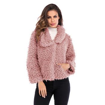 Модерно дамско пухено късо палто с джоб в розов,сив и черен цвят