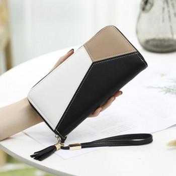 Γυναικείο πορτοφόλι  σε μαύρο, ροζ και μπλε χρώμα
