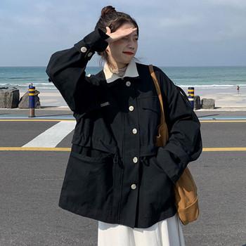 Дамско тънко палто широк модел в два цвята с копчета и джобове