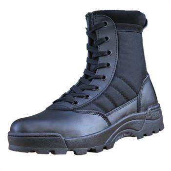 Мъжки туристически обувки с цип и връзки в бежов и черен цвят