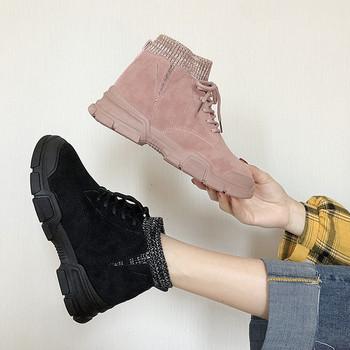 Дамски кецове с връзки и равна подметка в черен, бежов и розов цвят