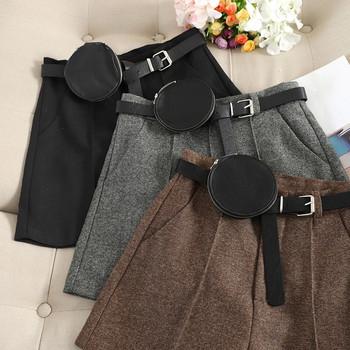 Модерен дамски къс панталон с висока талия и колан