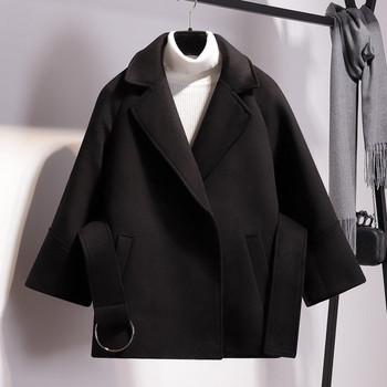 Стилно дамско палто с колан в кафяв, бял и черен цвят