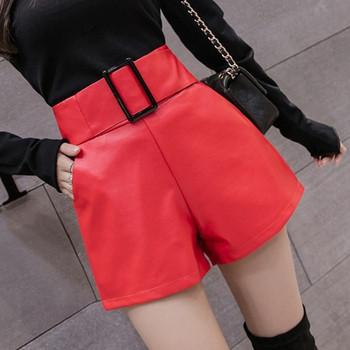 Модерни дамски къси панталони с колан от еко кожа в кафяв,черен,червен и бежов цвят
