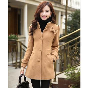 Стилно дамско палто с 3D панделка в розов, син, зелен и кафяв цвят