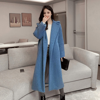 Дълго плътно палто в розов,син и бежов цвят