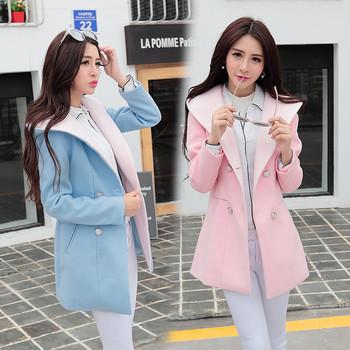 Модерно дамско палто с качулка в сив, розов и син цвят
