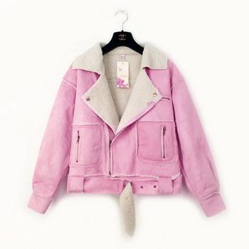 Модерно дамско яке с мека подплата и колан в розов и кафяв цвят