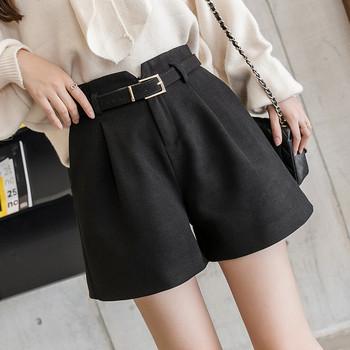 Актуални къси дамски панталони с висока талия и колан в сив,черен и бежов цвят