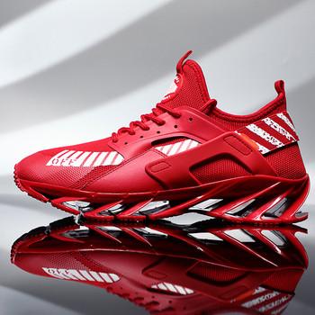 Нов модел мъжки маратонки с висока груба подметка в червен,черен и бял цвят