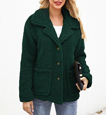 Ежедневно дамско палто с джобове и копчета в бежов,зелен и кафяв цвят