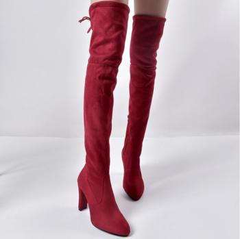 Стилни дълги дамски чизми с ток в три цвята