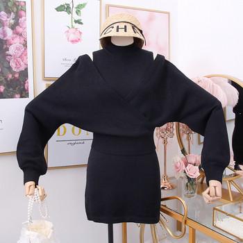 Модерен дамски комплект рокля + пуловер в сив и черен цвят