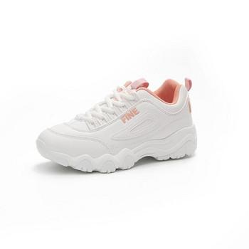 НОВ модел дамски маратонки с дебела подметка и връзки в бял и розов цвят