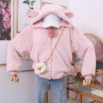 Модерен дамски суичър с качулка и 3D елемент в няколко цвята