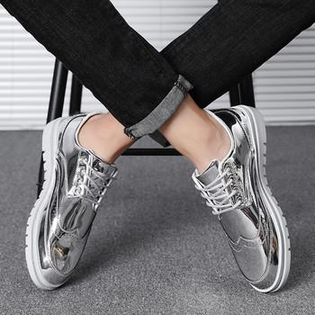 Ежедневни мъжки обувки с връзки и равна подметка в златист ,сребрист и черен цвят