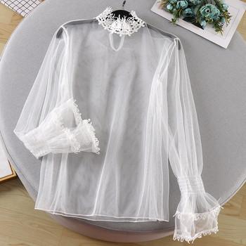 Дамска ежедневна тюлена блуза с бродерия в бежов,бял и черен цвят
