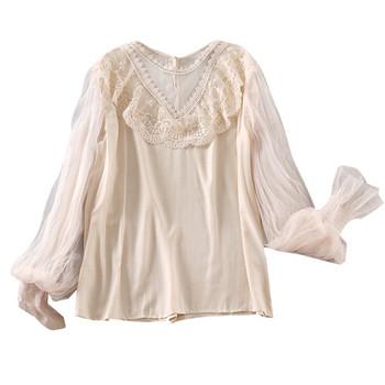 Модерна дамска блуза с дантела и дълъг ръкав в три цвята