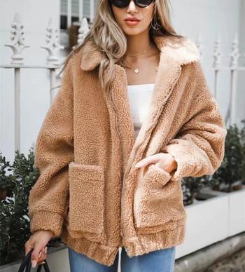 Ежедневно дамско палто с цип и джобове в различни цветове