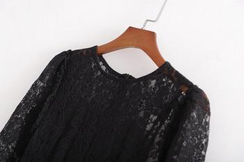 Елегантна дълга рокля от дантела в черен цвят