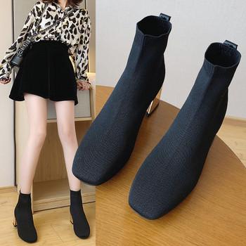 Стилни дамски боти тип чорап и дебел ток в черен цвят
