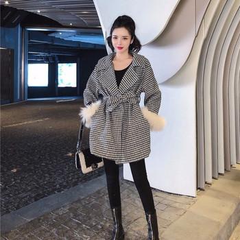 Дамско карирано палто с 7/8 ръкави с пух