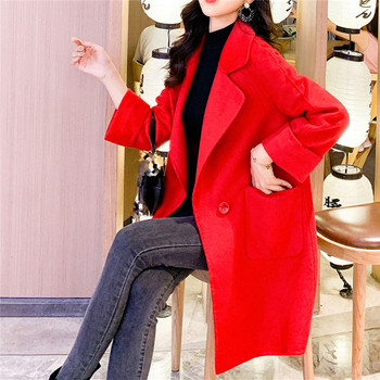 Модерно дълго палто в червен цвят с копчета и джобове