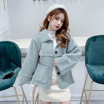 Нов модел дамско палто с копчета и джобове в бял,син,зелен и кафяв цвят