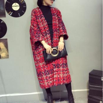 Модерно дамско палто с джобове в три цвята