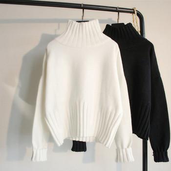 Хит Модерен дамски зимен пуловер с висока яка -черен и бял цвят