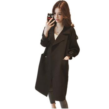 Стилно дамско палто дълъг и широк модел в няколко цвята