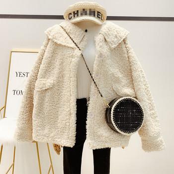 Дамско пухено палто с копчета в три цвята